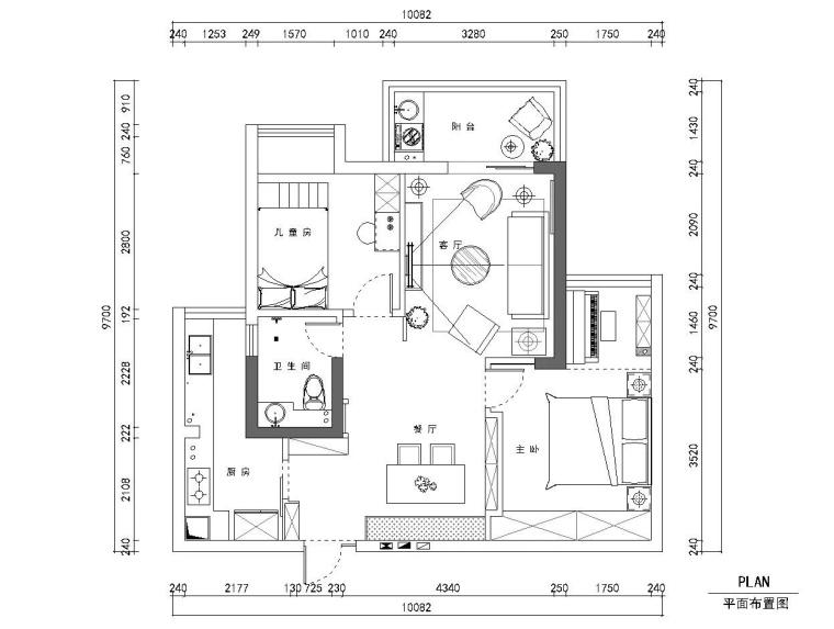 两居室小户型住宅装修全套施工图+效果图