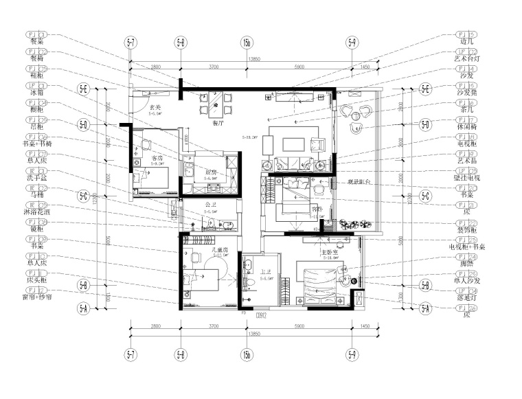 深圳148.5㎡樣板房室內裝修施工圖+效果圖