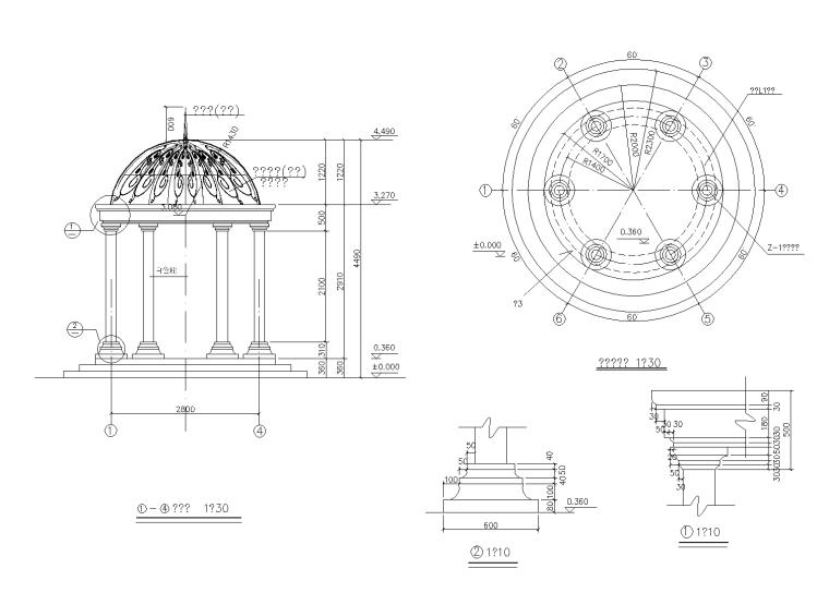 欧式亭CAD施工图