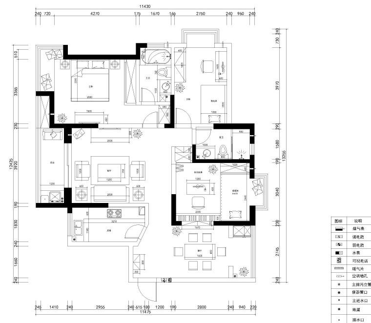 武汉126㎡现代简约风格三居室住宅施工图