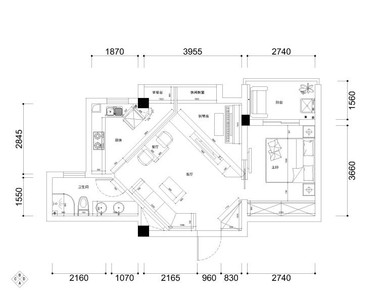 汉阳60㎡现代低调奢华风格婚房装修施工图