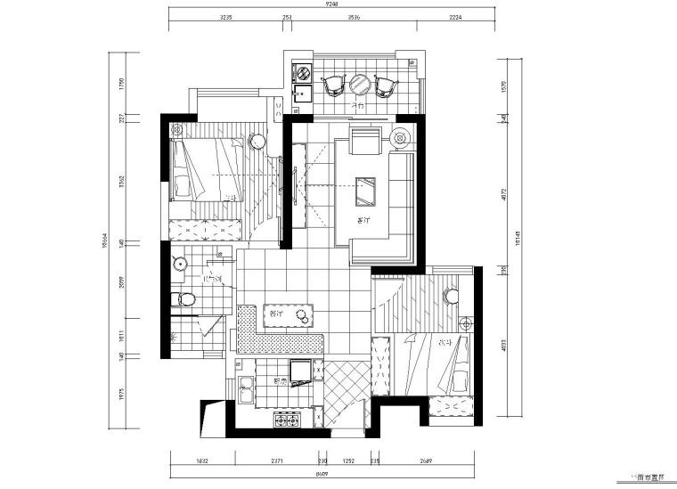 现代风格两居室住宅装修全套施工图+效果图