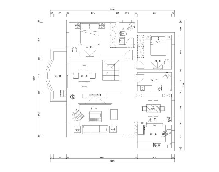 两层现代风格四居室住宅装修施工图+效果图