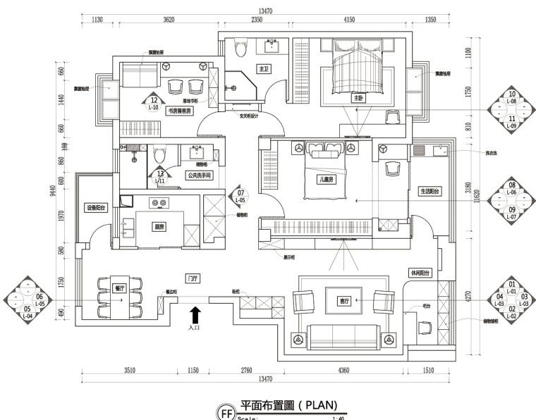 现代风格两居室大平层住宅施工图+效果图