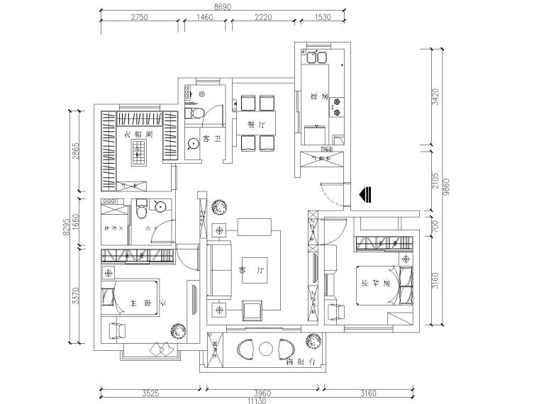 现代简约风格两居室住宅装修施工图+效果图