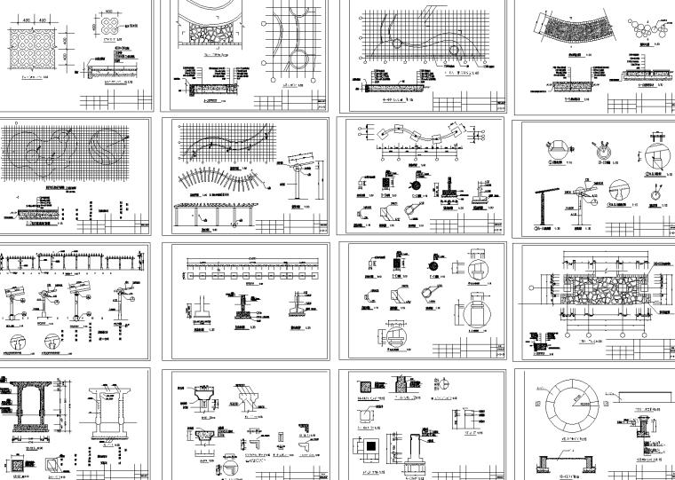 景观艺术花架CAD施工图
