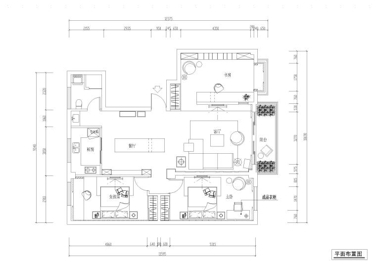 两居室私人住宅室内装修全套施工图+效果图