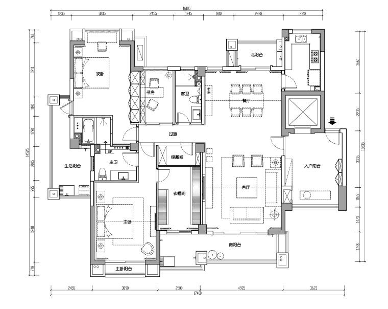福建170平两居室公寓装修施工图+效果图