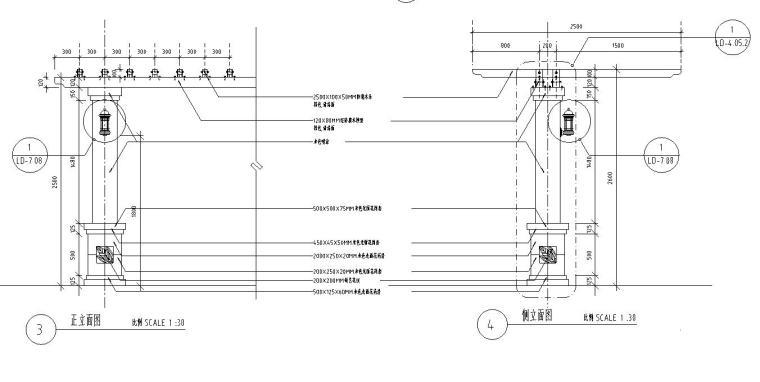 园林景观节点详图 廊架施工图设计八-园林景观节点详图廊架施工图设计八 (3)