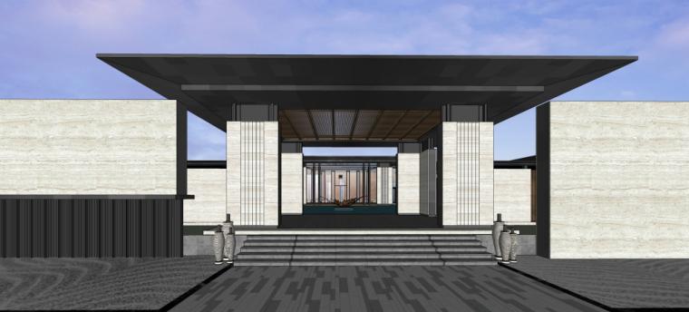 [河南]新中式风格示范区售楼处建筑模型设
