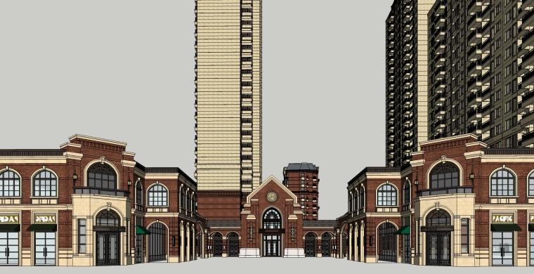 新中式海派风格万科嘉兴城南街道建筑模型