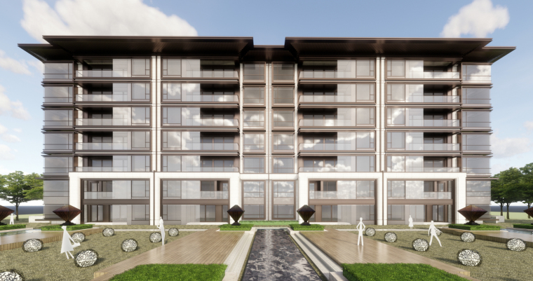 [河南]现代中式洋房建筑模型设计