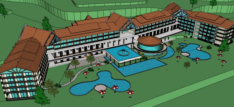 东南亚五星级度假酒店设计SU模型