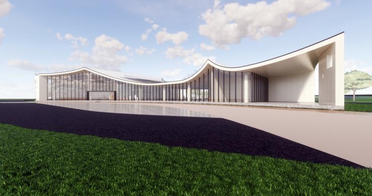 现代风格示范区坡屋顶建筑模型设计