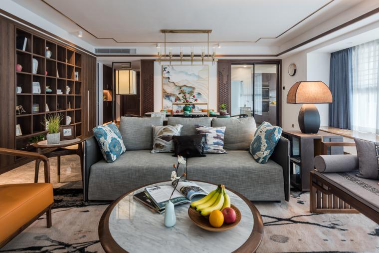 兰溪谷180㎡新中式风格样板房装修效果图