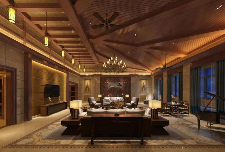 别墅中式风格室内装修设计案例效果图