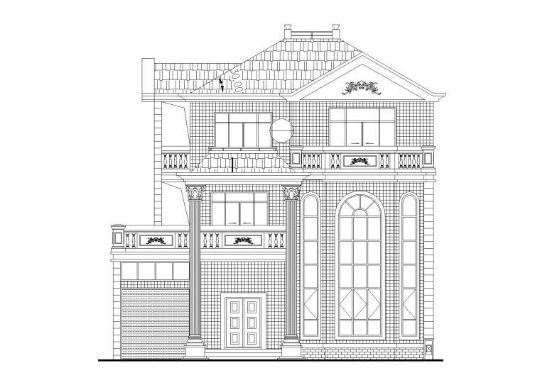 三层单家独院式框剪结构别墅建筑施工图