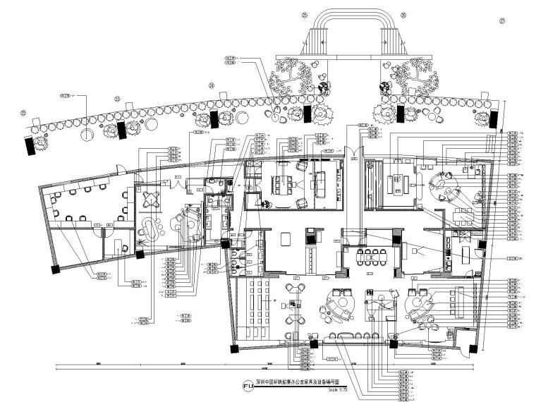 深圳某会所&办公室装修CAD施工图+设计方案-6