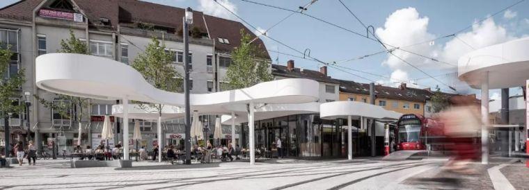德国,弗赖堡市,欧罗巴广场上的凉亭式车站