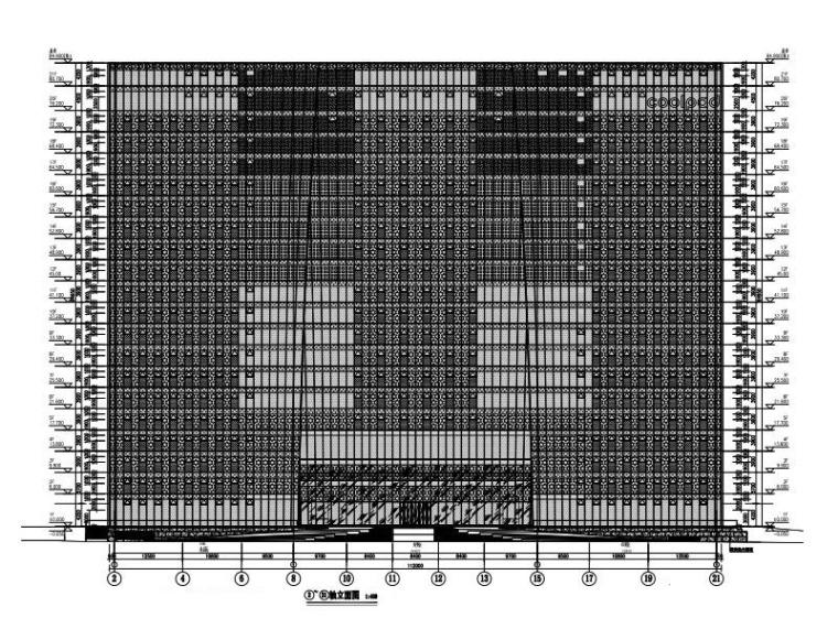 21层办公大厦玻璃幕墙结构施工图2016