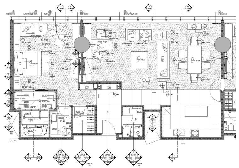 北京某五星级酒店全套客房,走道设计施工图