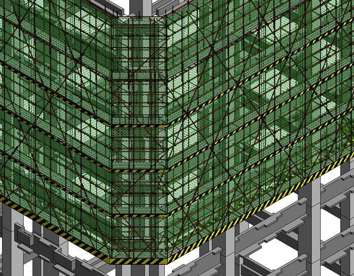 A塔附着式升降脚手架整体效果(转角处)