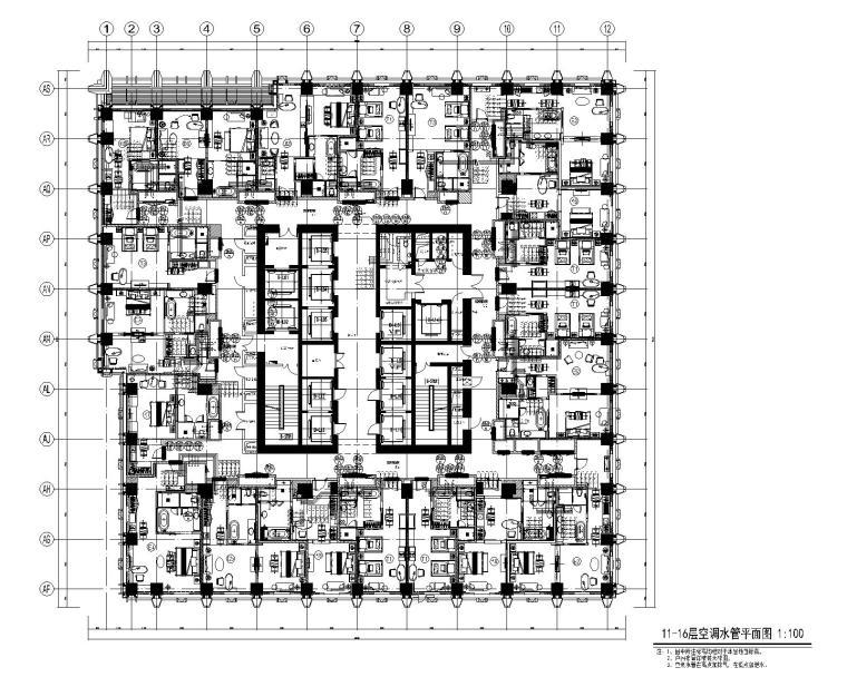 [青岛]超高层酒店暖通空调设计施工图-11-16层空调水管平面图