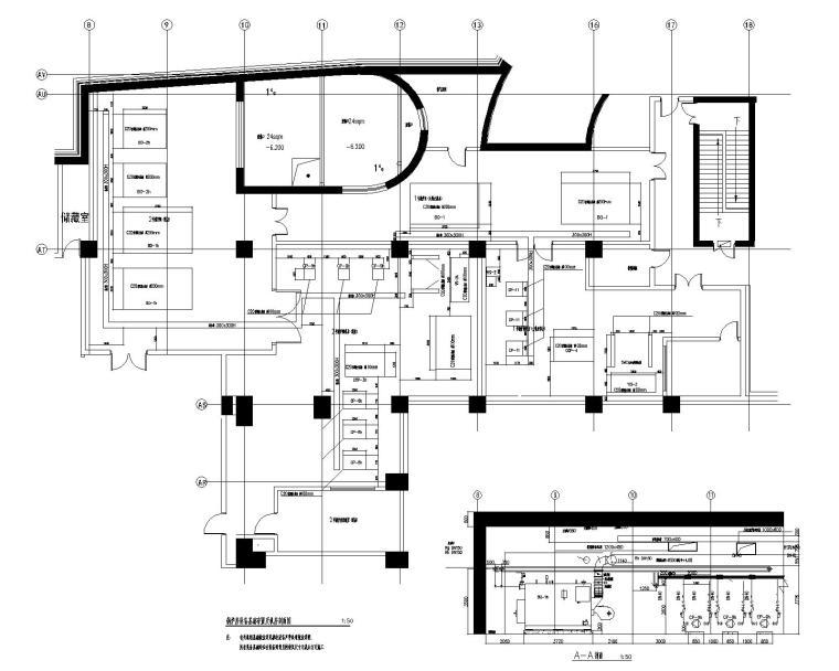 [青岛]超高层酒店暖通空调设计施工图-锅炉房设备基础布置及机房剖面图