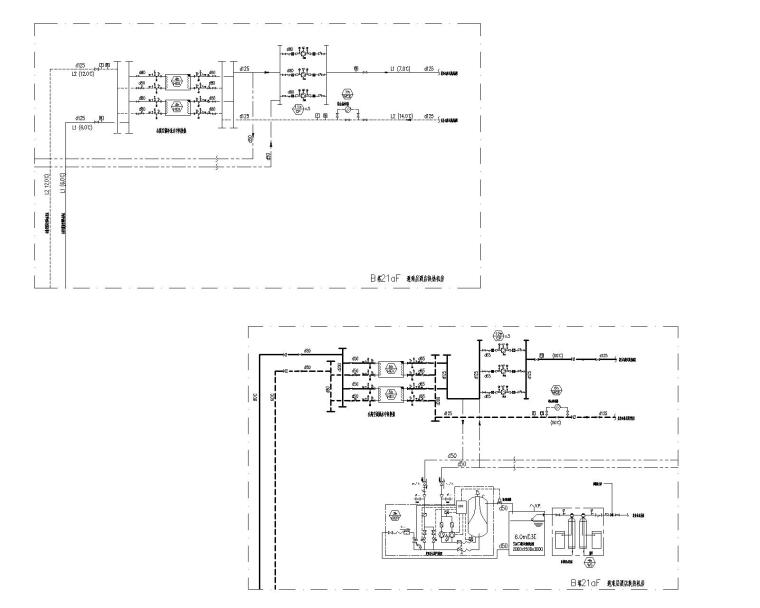 [青岛]超高层酒店暖通空调设计施工图-B塔21aF 避难层酒店换热机房