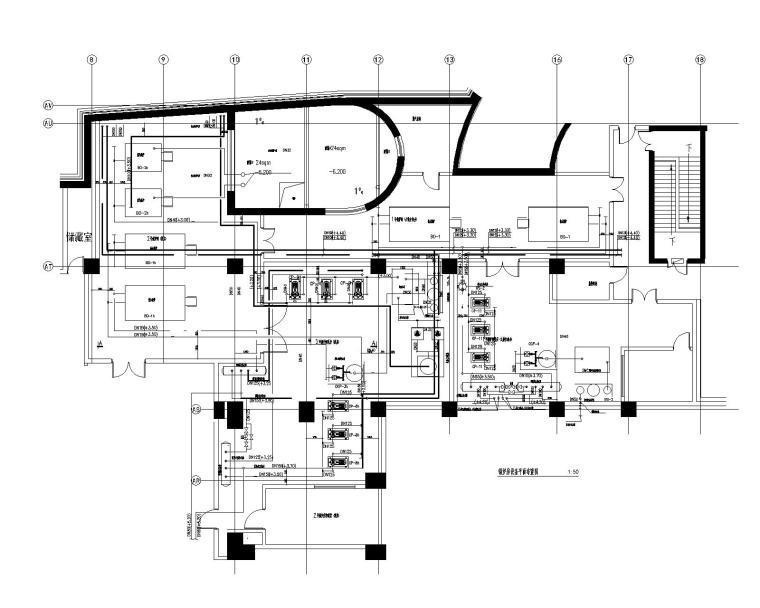 [青岛]超高层酒店暖通空调设计施工图-锅炉房设备平面布置图