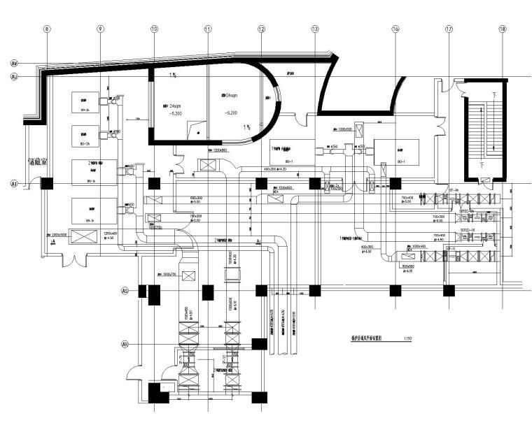 [青岛]超高层酒店暖通空调设计施工图-锅炉房通风平面布置图