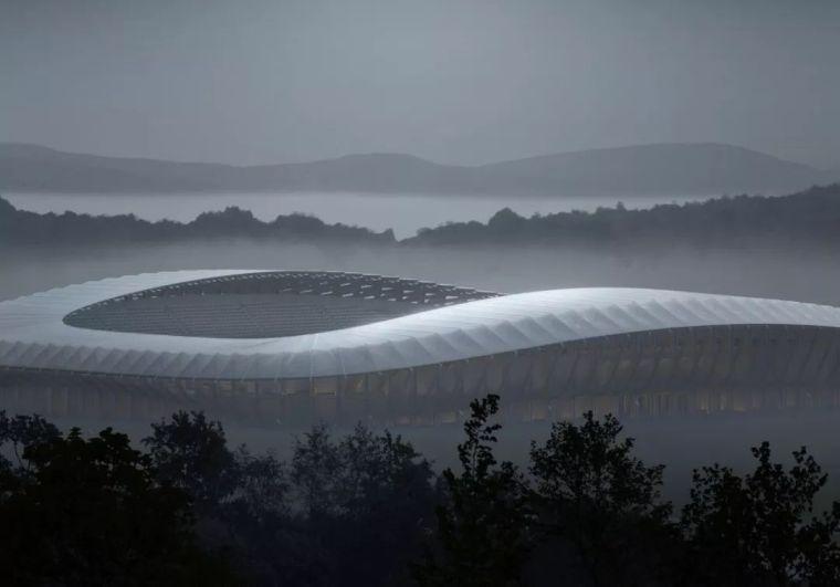 扎哈事务所新作:英格兰全木材足球场