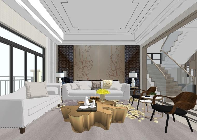 室内SU模型_新中式风格整体家装模型设计
