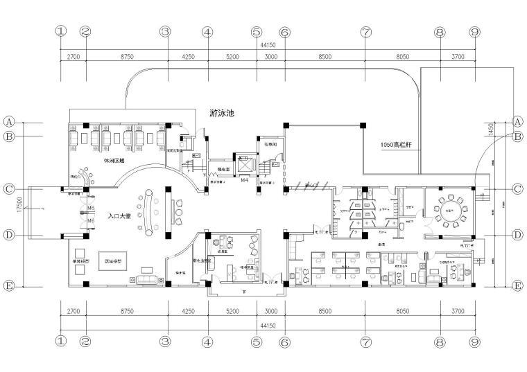 地产豪华办公会所室内装饰设计项目施工图