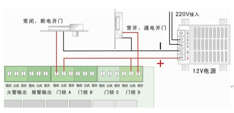 门禁控制系统接线原理图,如何安装布线?