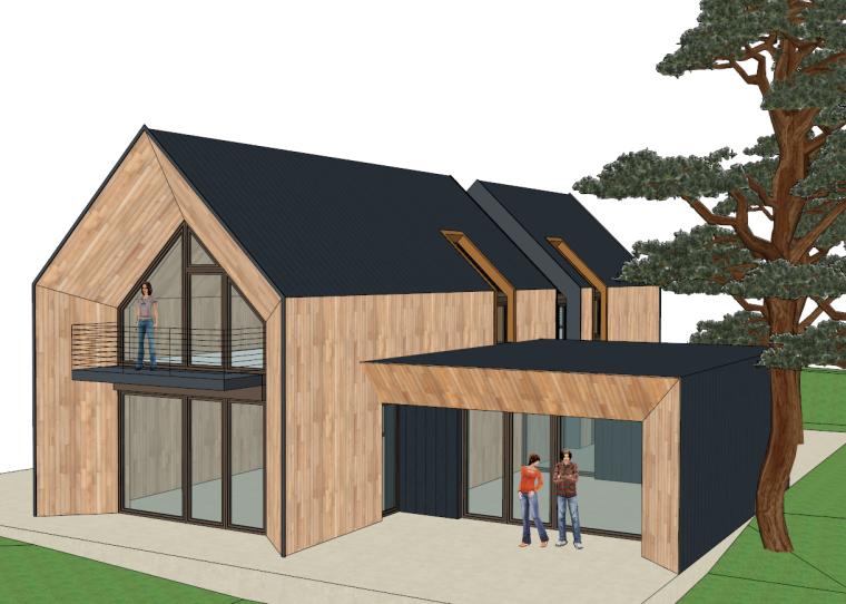 现代坡顶自建别墅家居住宅空间SU模型