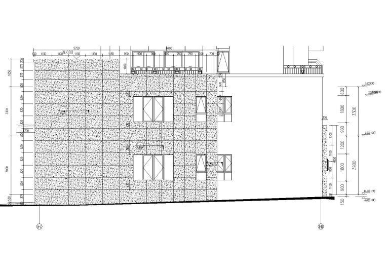 [上海]青浦普通商品房建筑竣工图+幕墙图纸-新里波洛克公馆幕墙施工图-5#楼A-J轴立面图