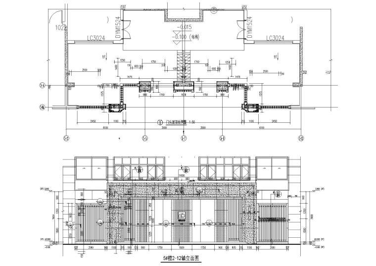 [上海]青浦普通商品房建筑竣工图+幕墙图纸-新里波洛克公馆幕墙施工图-5#楼局部立面图