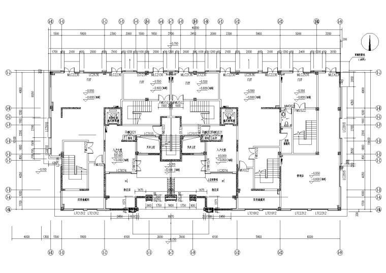 [上海]青浦普通商品房建筑竣工图+幕墙图纸-新里波洛克公馆幕墙施工图-5#楼一层平面图