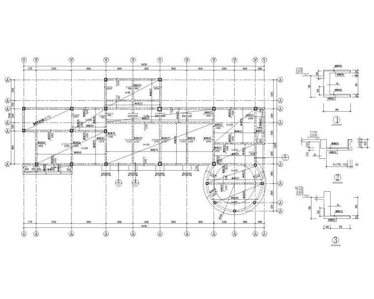 3层框架结构办公楼结构施工图(CAD)