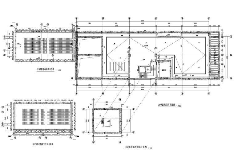 [上海]青浦普通商品房建筑竣工图+幕墙图纸-新里波洛克公馆幕墙施工图-32#楼、26#楼顶层平面布置图