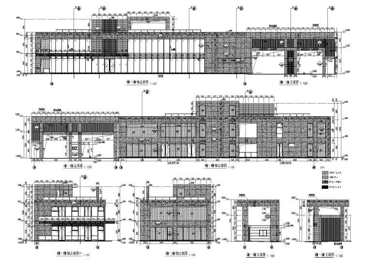 [上海]青浦普通商品房建筑竣工图+幕墙图纸-新里波洛克公馆幕墙施工图-轴立面图