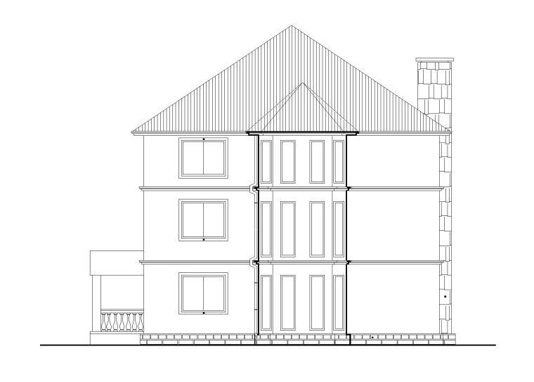 某三层独栋别墅建筑施工图(带效果图)