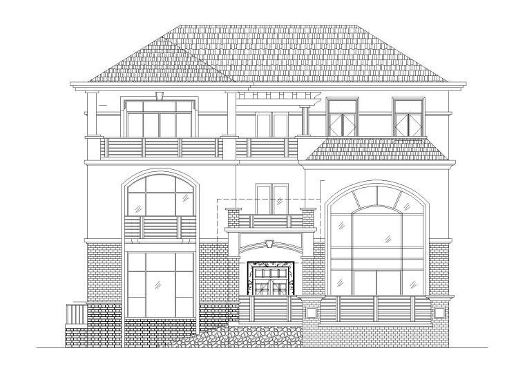 坡屋顶3层独栋别墅建筑施工图(289.93平)