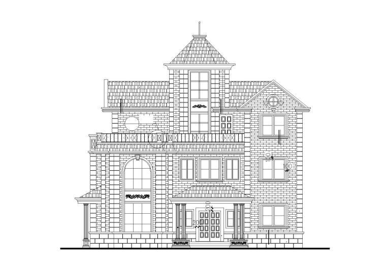 欧陆风格三层独栋别墅建筑施工图(带效果图)