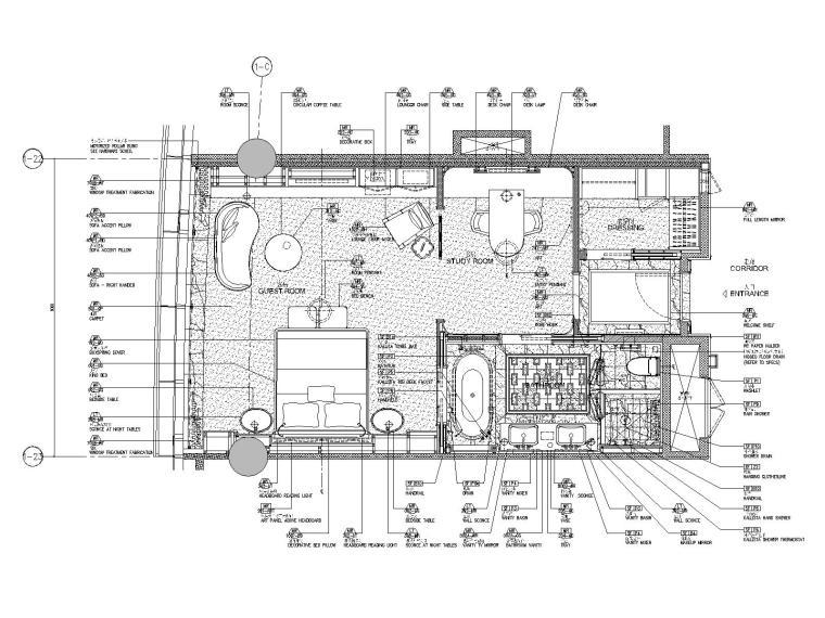 成都华尔道夫酒店客房样板间装修施工图
