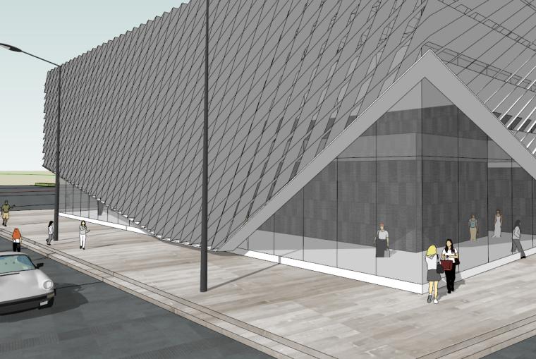 现代前卫孔状展览展示空间SU模型设计