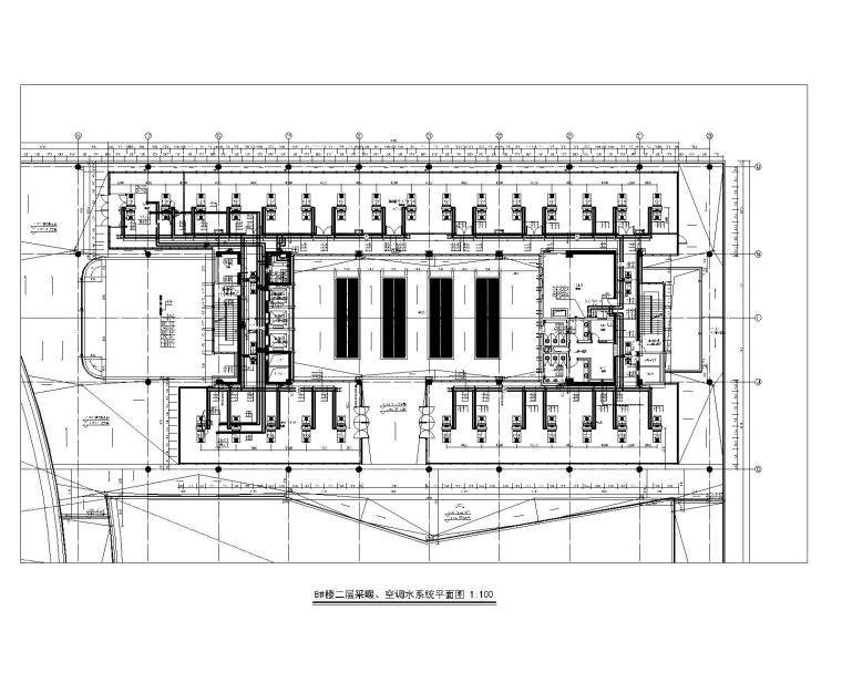 8#楼二层采暖、空调水系统平面图