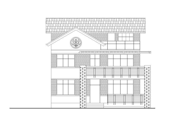 单家独院式三层别墅建筑方案图(CAD)