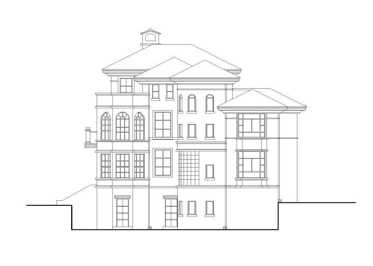 北美风格独栋别墅建筑施工图